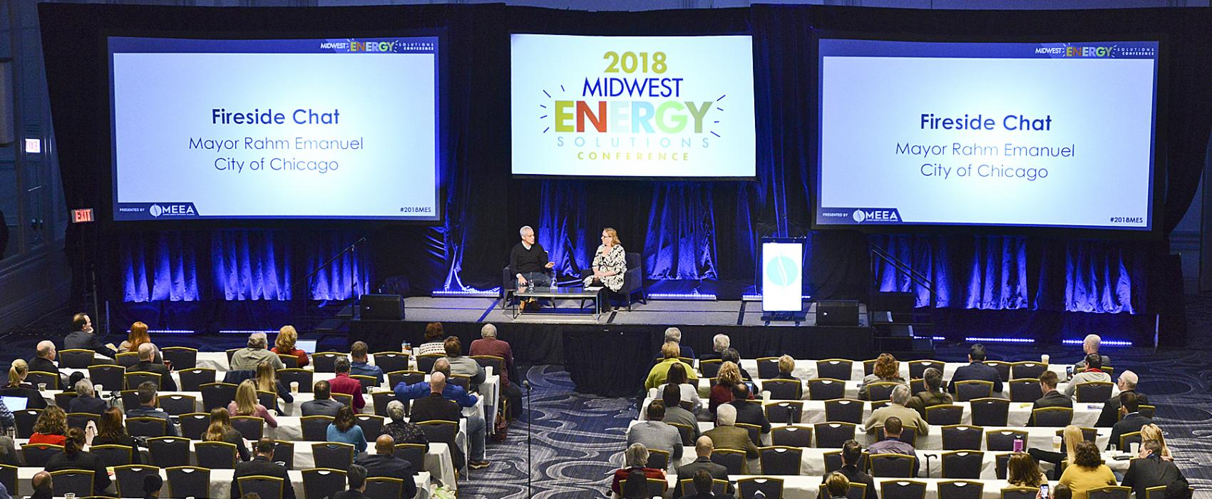 A full room listen to Mayor Rahm Emanuel at MES 2018