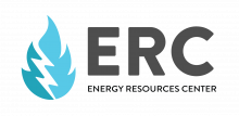 ERC logo with black letters and blue flame